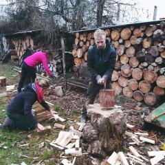Holzhacken für die warme Stube